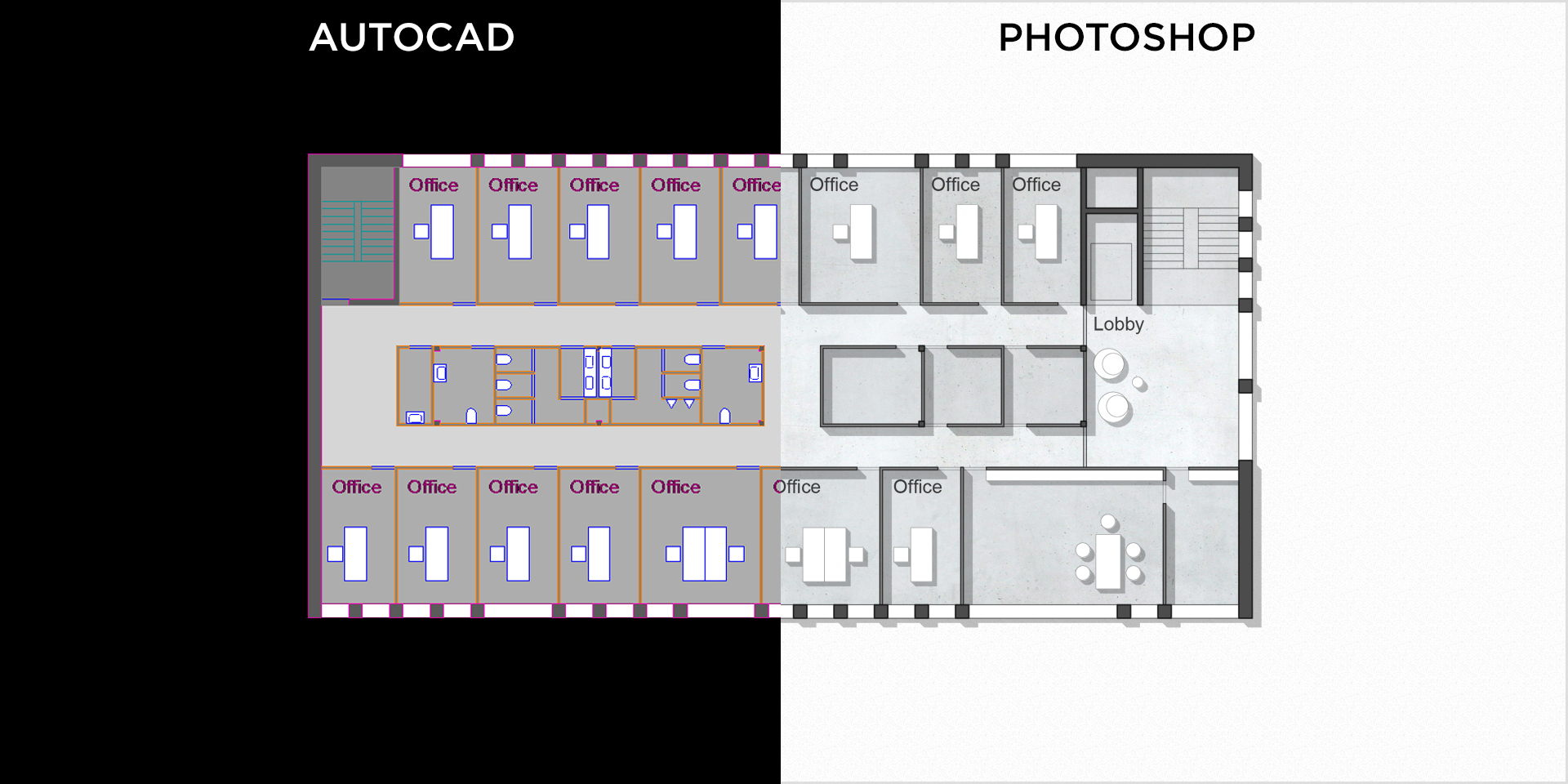 How To Render An Autocad Floor Plan With Photoshop Renderplan